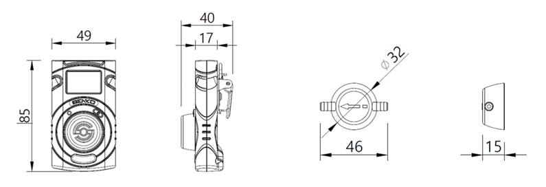 Rozměry SGT detektoru plynu